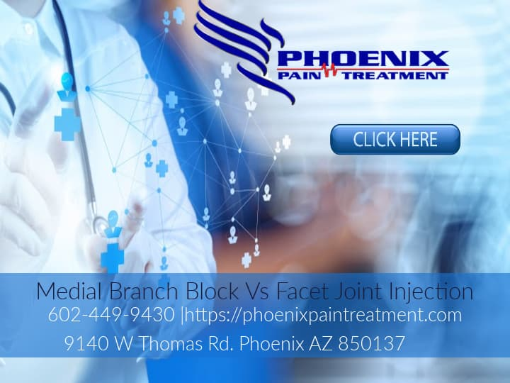 Graphic stating Medial Branch Block Vs Facet Joint Injection Phoenix Pain Treatment